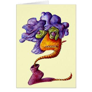 monstruo colorido loco del gusano tarjeta de felicitación