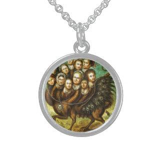 Monstruo con alas quimera del comienzo del siglo collares de plata esterlina