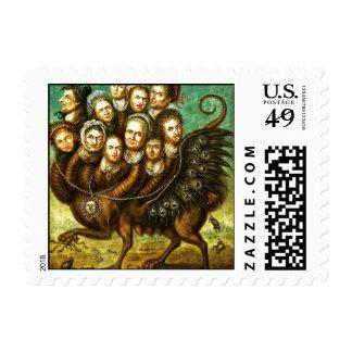 Monstruo con alas quimera del comienzo del siglo sello postal