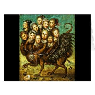 Monstruo con alas quimera del comienzo del siglo tarjeta de felicitación grande