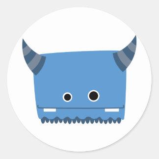 Monstruo de cuernos azul pegatina redonda