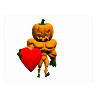 Monstruo de Halloween con un corazón Postal