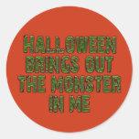 Monstruo de Halloween en mí (verde de Pegatinas Redondas