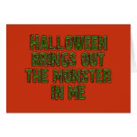 Monstruo de Halloween en mí (verde de Felicitaciones