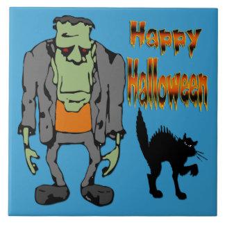 Monstruo de Halloween - teja/Trivet del gato negro Azulejo Cuadrado Grande