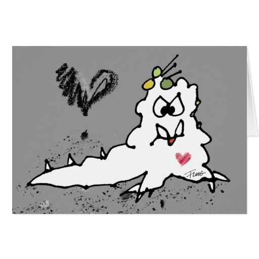 Monstruo de la barra del amor del dibujo animado tarjeta de felicitación