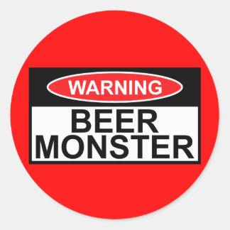 Monstruo de la cerveza etiqueta redonda