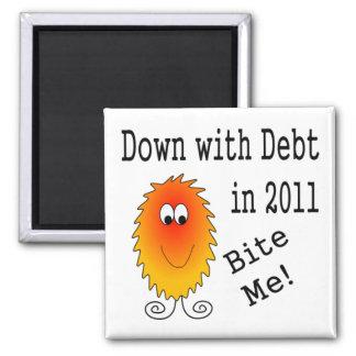 Monstruo de la deuda - abajo con deuda en 2011 imán cuadrado
