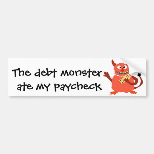 Monstruo de la deuda que come el dibujo animado de etiqueta de parachoque