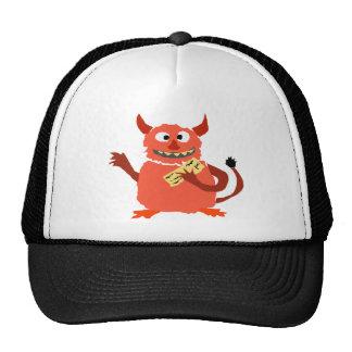 Monstruo de la deuda que come el dibujo animado de gorra