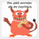 Monstruo de la deuda que come el dibujo animado de pegatinas cuadradas personalizadas