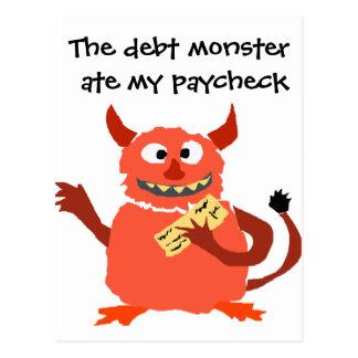 Monstruo de la deuda que come el dibujo animado de postales