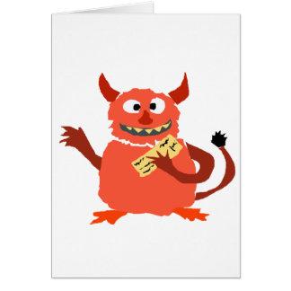 Monstruo de la deuda que come el dibujo animado de tarjeta de felicitación