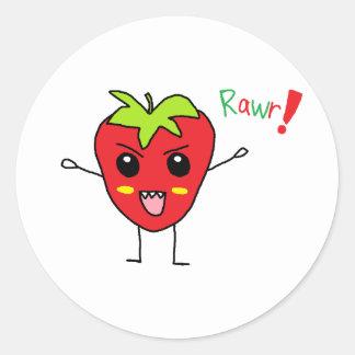 Monstruo de la fresa pegatina redonda