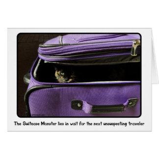 Monstruo de la maleta del gato de la concha tarjeta de felicitación