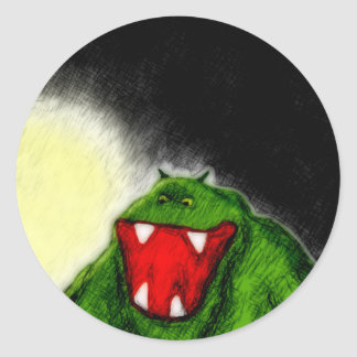 Monstruo de la noche etiqueta redonda