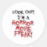 Monstruo de la película de terror pegatina redonda