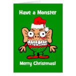 Monstruo de las Felices Navidad Tarjeton