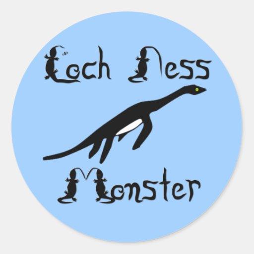 Monstruo de Loch Ness Etiqueta Redonda