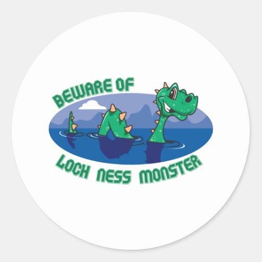Monstruo de Loch Ness Pegatina Redonda