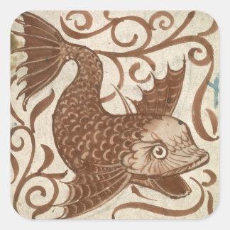 Monstruo de mar (w/c en el papel) pegatina cuadrada