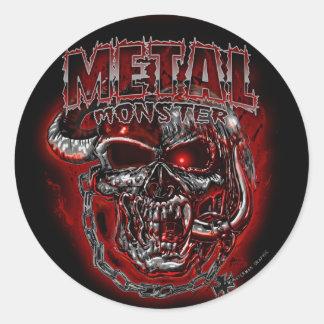 Monstruo de metales pesados etiquetas redondas
