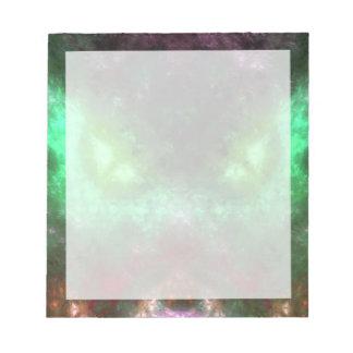 Monstruo de ojos verdes bloc de papel