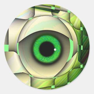 Monstruo de ojos verdes pegatinas redondas