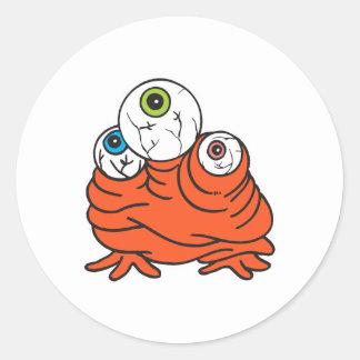 monstruo de tres globos del ojo pegatina redonda