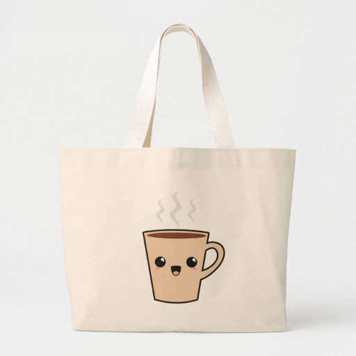 Monstruo del café de Kawaii Bolsa Tela Grande