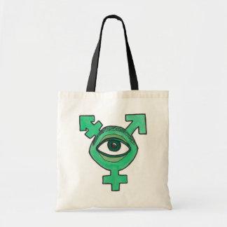 Monstruo del globo del ojo del verde del símbolo d bolsa tela barata