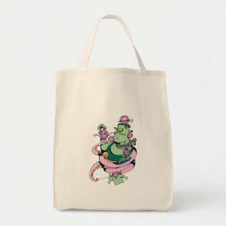 monstruo del mascota con el dibujo animado diverti bolsa