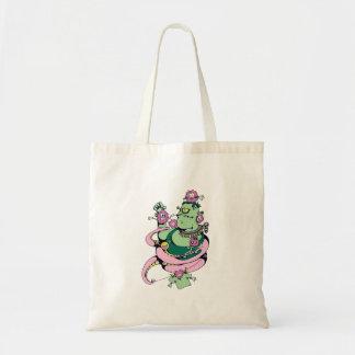monstruo del mascota con el dibujo animado diverti bolsas lienzo