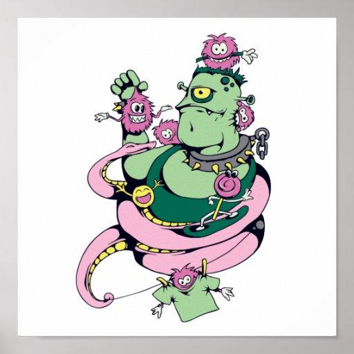 monstruo del mascota con el dibujo animado diverti posters