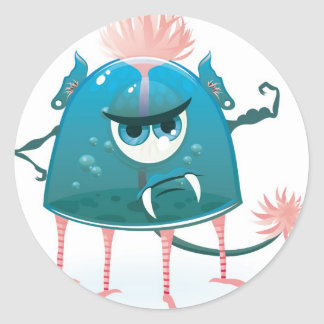 monstruo del vector que muestra su poder pegatina redonda