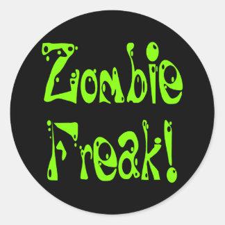 Monstruo del zombi 9 etiqueta redonda