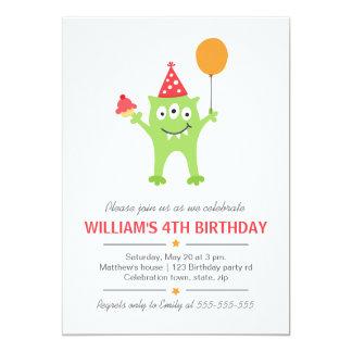 Monstruo divertido con cumpleaños del globo y de invitación 12,7 x 17,8 cm