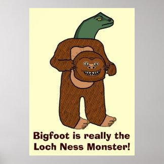 Monstruo divertido de Bigfoot Loch Ness Póster