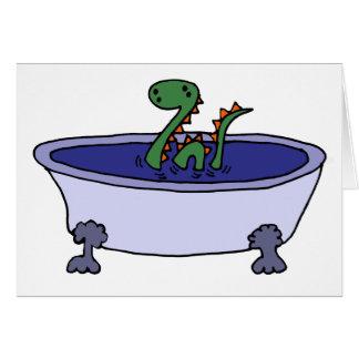 Monstruo divertido de Loch Ness en bañera Felicitaciones