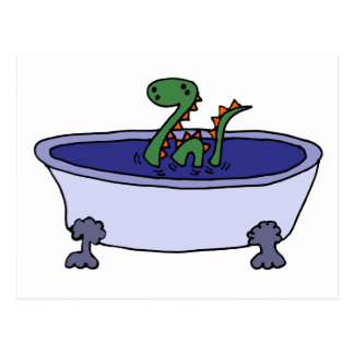 Monstruo divertido de Loch Ness en bañera Tarjeta Postal