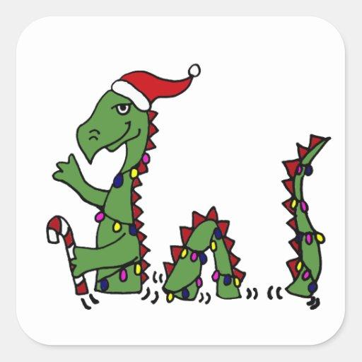 Monstruo divertido de Loch Ness en navidad del Calcomanía Cuadrada