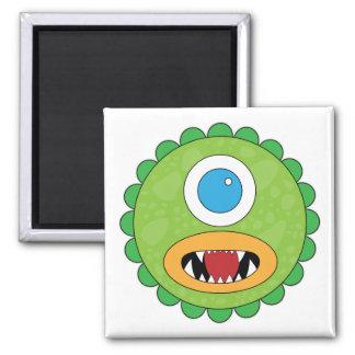 Monstruo divertido verde imán cuadrado