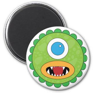 Monstruo divertido verde imán redondo 5 cm