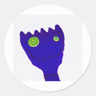 Monstruo en azul pegatina redonda