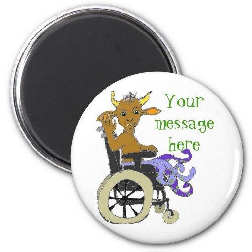 Monstruo en las ruedas -- su mensaje imán redondo 5 cm