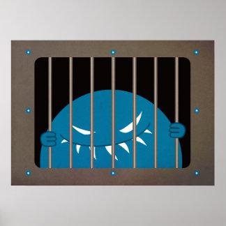 Monstruo encarcelado del mal del pivote central póster