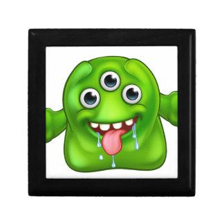 Monstruo extranjero lindo verde joyero cuadrado pequeño