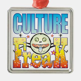 Monstruo extraño de la cultura adorno cuadrado plateado
