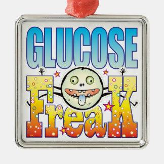 Monstruo extraño de la glucosa adorno cuadrado plateado