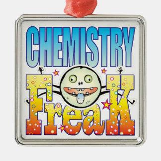 Monstruo extraño de la química adorno cuadrado plateado